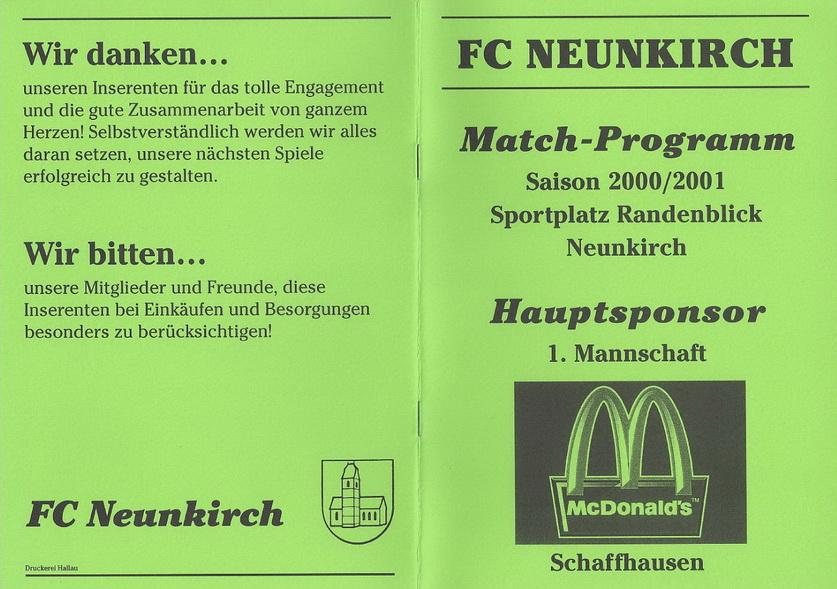 Match-Programm 2000/01