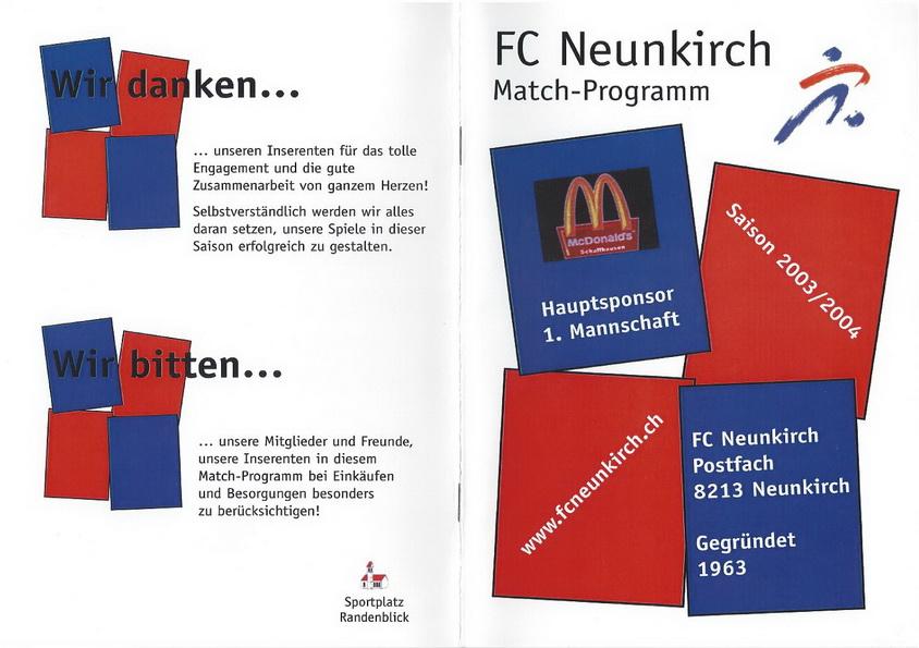 Match-Programm 2003/04